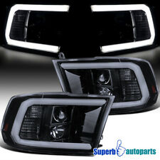 For 2009-2018 Dodge Ram LED DRL Projector Headlights Glossy Black Smoke