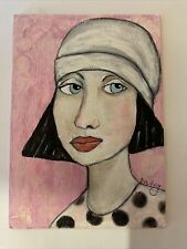 "Original Acrylic Outsider Art 5x7 painting ""I Am Worth The Effort"""