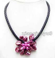 SALE 70mm Baroque Rose Pink Shell Flower & Pearl pendant 18'' Rope Necklace-6360