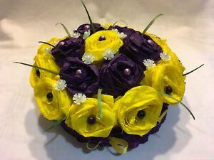 Artificial Flower Wedding Table Centrepiece Decoration Crepe Paper Yellow Violet