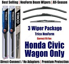 3pk Wipers Front & Rear NeoForm - 1984-1986 Honda Civic Wagon ONLY 16180x2/30160