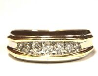 14k yellow white gold .55ct SI3 I1 I diamond mens wedding band ring 8g gents
