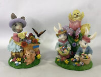 Easter Bunnies Playing/Bunny Girl Holding Dove 28434 & 28429 Pair Of 2 By Jaimy