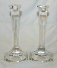 """PAIR OF CRYSTAL GLASS 7"""" CANDLE STICK HOLDERS"""