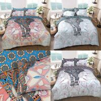Elephant Mandala Pink/Blue & Purple Duvet Cover & Pillowcase Bed Set All Sizes
