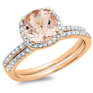 1.75 CT 10K Rose Gold Morganite & White Diamond Bridal Halo Engagement Set