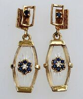 14K Yellow Gold Diamond Blue Sapphire Etched Crystal Dangle Earrings