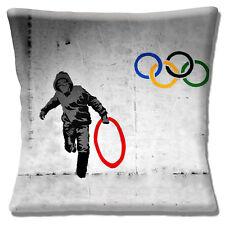 Banksy Graffiti Artist Cushion Cover 16x16 inch 40cm Stealing An Olympic Anneau