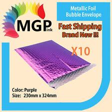 10 x Purple Metallic Foil Bubble Wrap Bags Mailing Padded Envelops 230x324mm