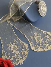 Linge ancien Barbe Cravate Dentelle d'application Costume ancien 147x15cm D/225