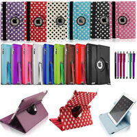 360 ROTATING Polka Dot CASE FOR iPAD 2 3 & NEW iPAD 4 COVER RETINA STAND