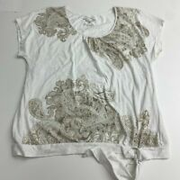 Sonoma Knit Top Blouse Women's XL White Brown Paisley Side Tie Short Sleeve