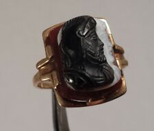 Faced Cameo Ring Size 5 Vintage 10K Gold Roman Soldier Double