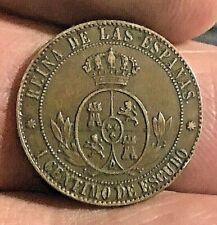 Cincin19,Raro y Bonito 1 Ctmo de Escudo 1866,Barcelona ,sin OM