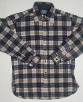 VTG 1960s Pendleton Wool Shirt, Sz L, Single Pocket, Button Collar, Blk Plaid