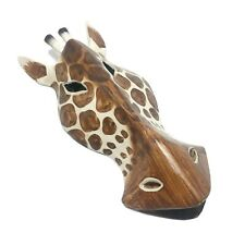 """African Safari Giraffe Hand Carved Wooden Mask Wall Hanging Art Sculpture 9.5"""""""