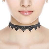 Black Lace Victorian Vintage Gothic Flower Chain Collar Choker Necklace Pendant