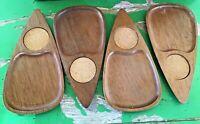 Mid-Century Teardrop Snack Trays Hand Carved Sere Wood & Cork Set of 4 Japan