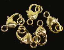 27x13mm Large Gold Pewter Striped Heart Lobster Claw Clasps (5)