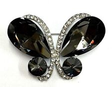 Simply Beautiful Large Butterfly Silver Tone with Large Black Crystals Brooch