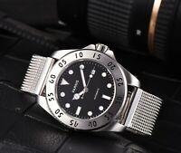 42mm Parnis schwarz Zifferblatt Saphirglas Miyota Automatikwerk mens watch uhr