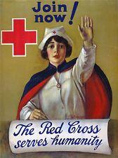 CROCE ROSSA INFERMIERA umanitario carità vintage repro poster art print 894pylv