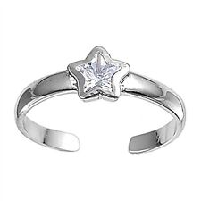 Ring Sterling Silver Star Cubic Zirconia Toe