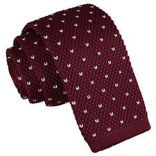 DQT Knit Knitted Flecked V Dot Burgundy Casual Mens Skinny Tie