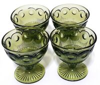 Set of 4 Vintage 1960s Bartlett Collins Manhattan Green Glass Sherbet Bowls