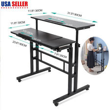 Angle Height Adjustable Rolling Laptop Desk Home Office Furniture Standing Table
