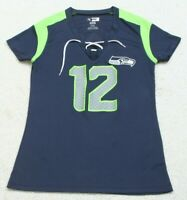 NFL Seahawks Blue Polyester Short Sleeve V-Neck Woman's Tee T-Shirt Top Small