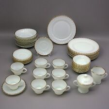 Vtg Lot 42 Piece Anchor Hocking Fire King White Swirl Gold Trim 8 Place Settings
