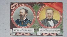 CARTOLINA POSTALE VITT. EMANUELE II E CAMILLO CAVOUR CINQUANTESIMO ANNIVERSARIO