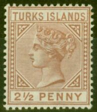 More details for turks & caicos is 1882 2 1-2d red-brown sg56 fine mtd mint.