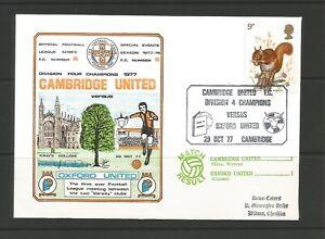 GB 1977 Cover Commemorating Cambridge United Div 4 Champions