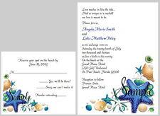 100 Personalized Custom Seashell Beach Bridal Wedding Invitations Set