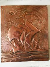 Antique Arts And Crafts Movement  Hand Made Copper Ship Plaque