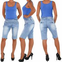 Damen Capri 3/4 Jeans Shorts Bemuda Kurze Hüft Stretch Hose Sommer Blau 1303