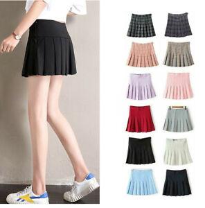 Women High Waist Pleated Casual Tennis Style Skater Mini Skirt Plaid Dress UK