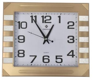 Large 40cm x 35cm Rectangle Wall Clock Matt Gold With Marble Effect Touches