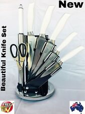 LUXURY' BASS STAINLESS STEEL 8 PIECES KNIFE BLOCK SET WITH STAND,,
