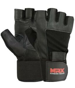 Gym Gloves With Wrist Wrap Workout Weight Lifting Grip Fitness Exercise MRX
