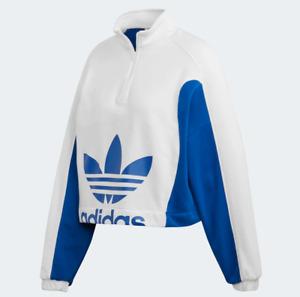 Adidas Women's Pullover Sweatshirt, White / Collegiate Royal