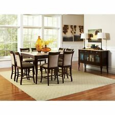 Steve Silver Marseille 9 Piece Marble Top Counter Height Dining Table Set -