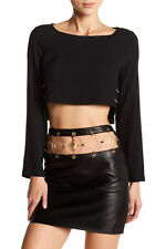 New VERSUS VERSACE X ANTHONY VACCARELLO RUNWAY Embellished Leather Skirt 40 4