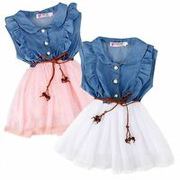 New Baby Girls summer Clothes Ruffle Dot TUTU Lace chiffon Party Dress +Belt