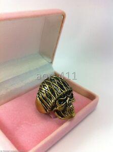 Handmade Classic SKULL Harley Biker Brass Ring Size 8-12 Gold and Black Vintage