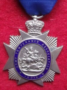 British Military Silver Army Temperance Association White Star Medal India 5 yea