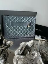 CHANEL 19S Iridescent Black Caviar XL O-Case Night By The C Evening Clutch Bag