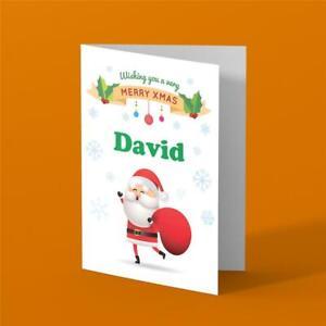 Personalised Christmas Card any name girl boy Unisex Xmas Santa cute